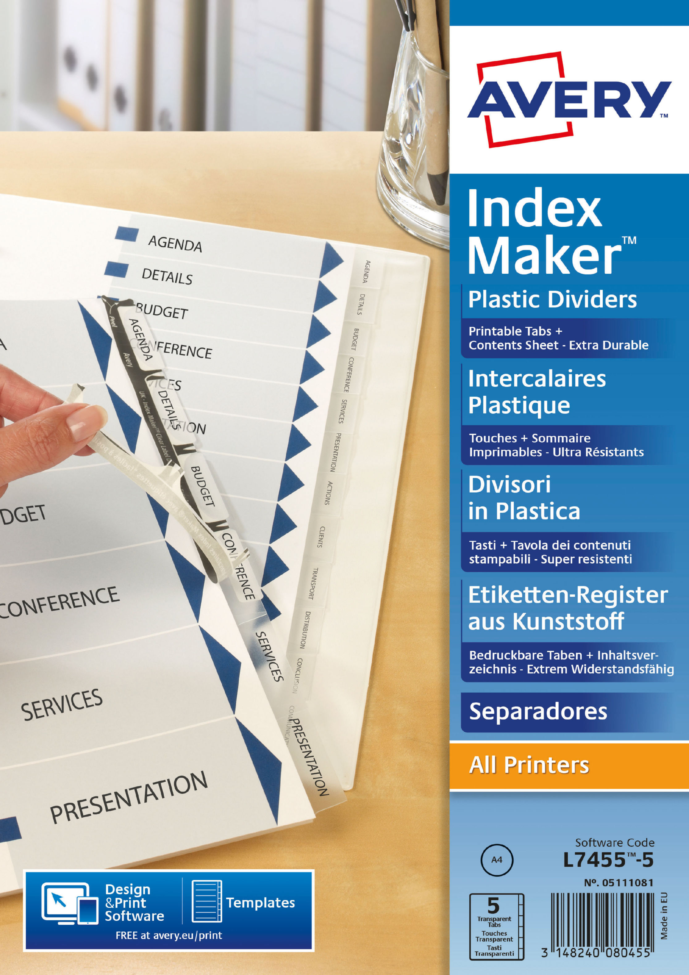 Avery Indexmaker 5 Part Divider Polypropylene Clear 05111081