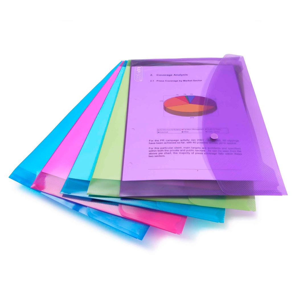 Rapesco Bright Popper Wallet Foolscap Assorted Colours PK5