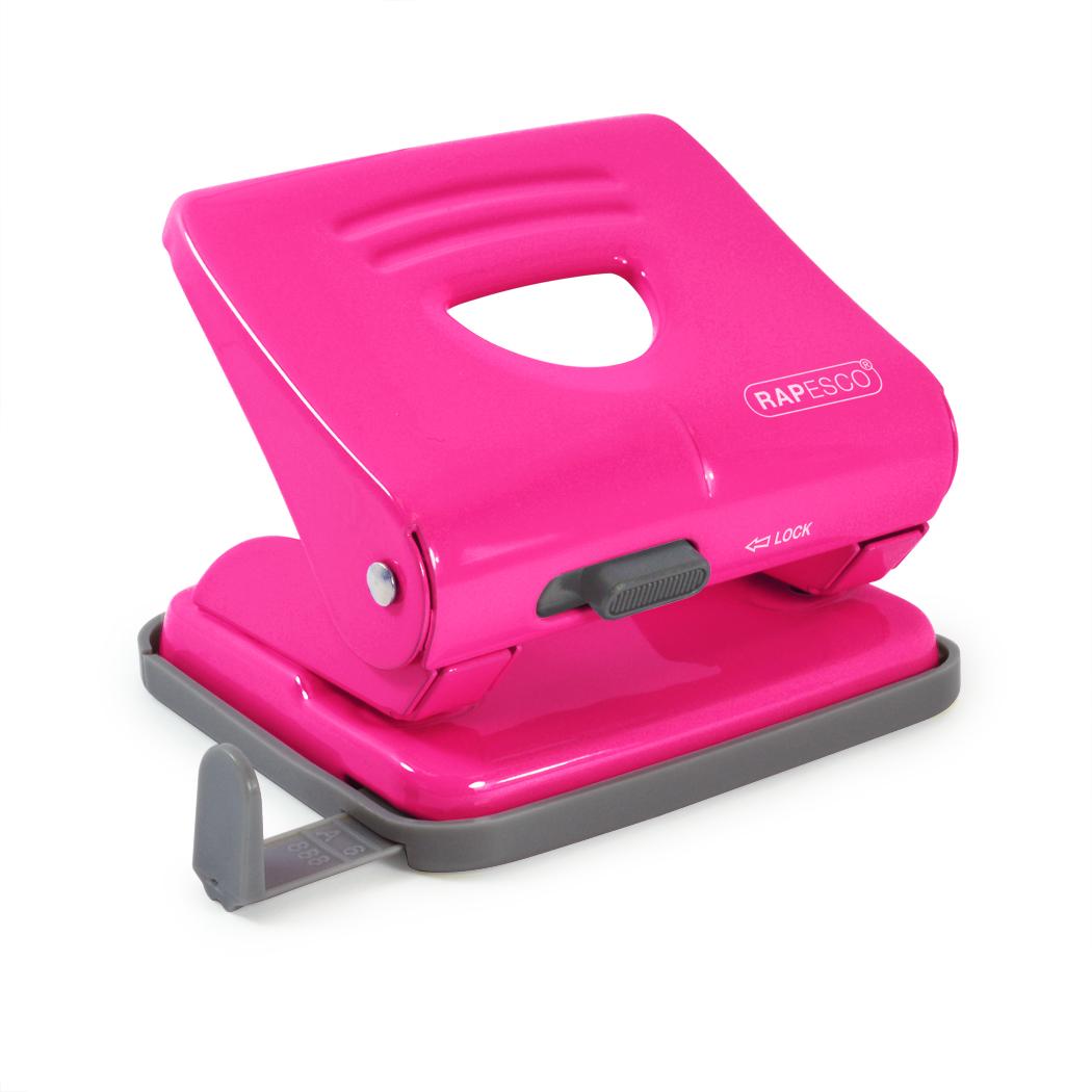Rapesco 825 2-Hole Punch Hot Pink