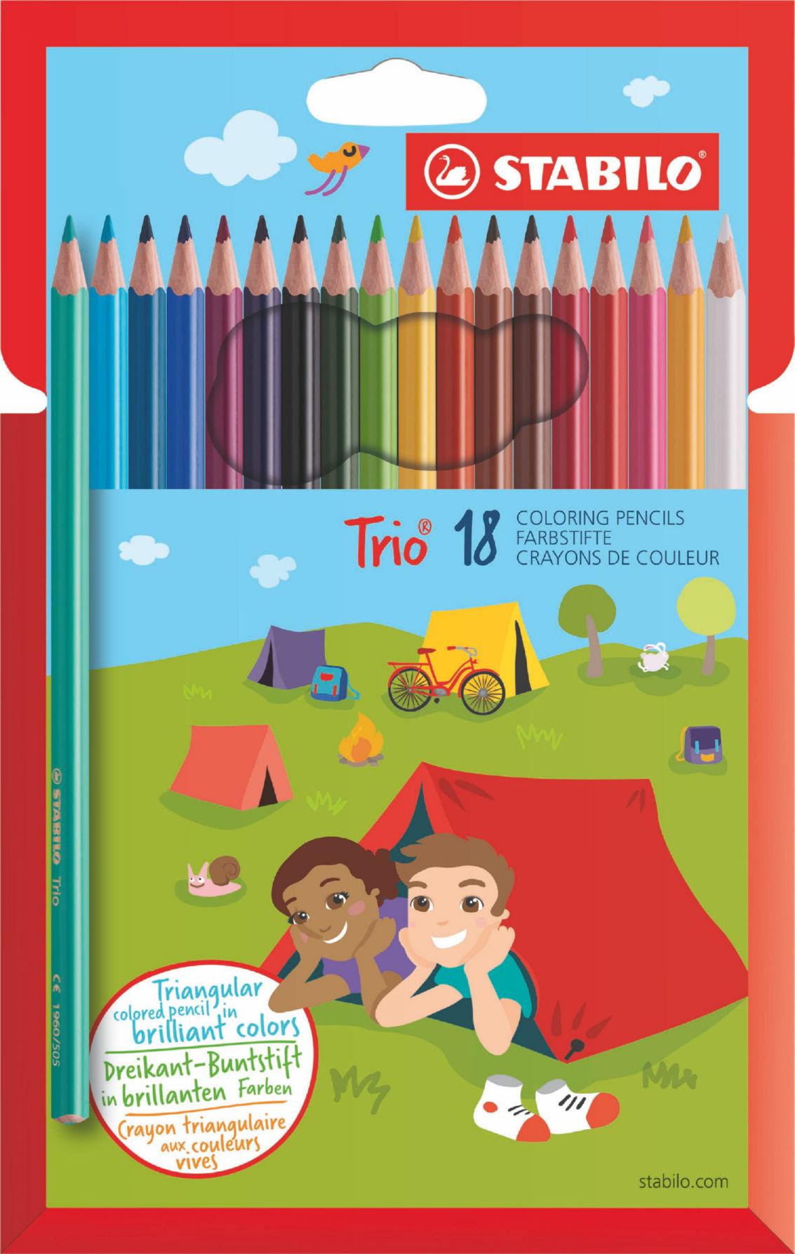 Trio Thin Colouring Pencils PK18