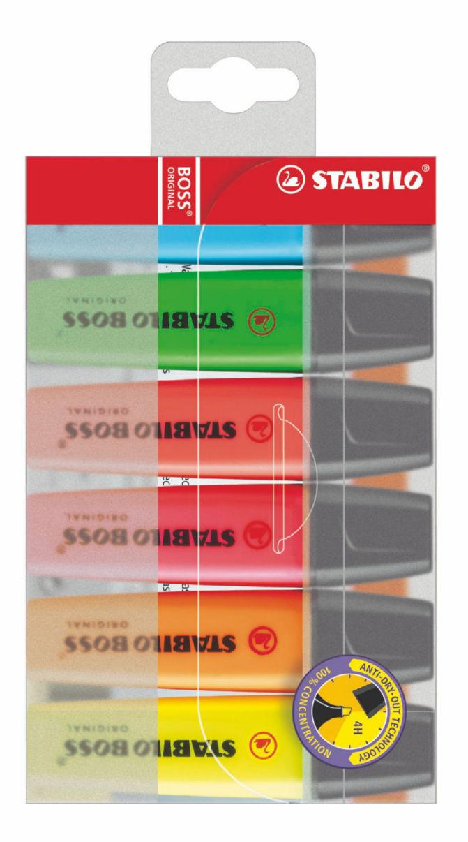 Highlighters Stabilo Boss Highlighters Chisel Tip 2-5mm Line Asrtd PK6