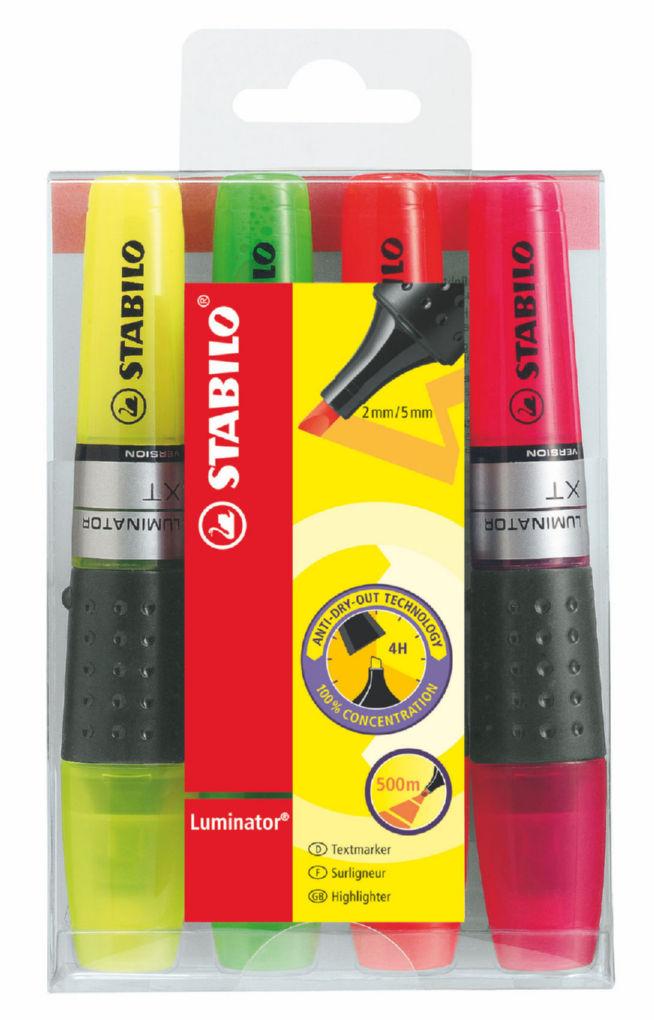Highlighters Stabilo Boss Luminator Hilighter Double Capacity Astd PK4