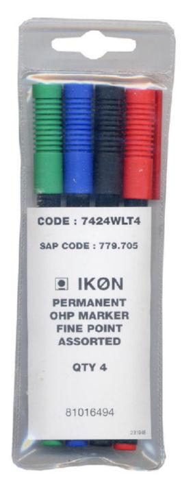 Non-Permanent Markers ValueX OHP Non-Permanent Fine Assorted (Pack 4)