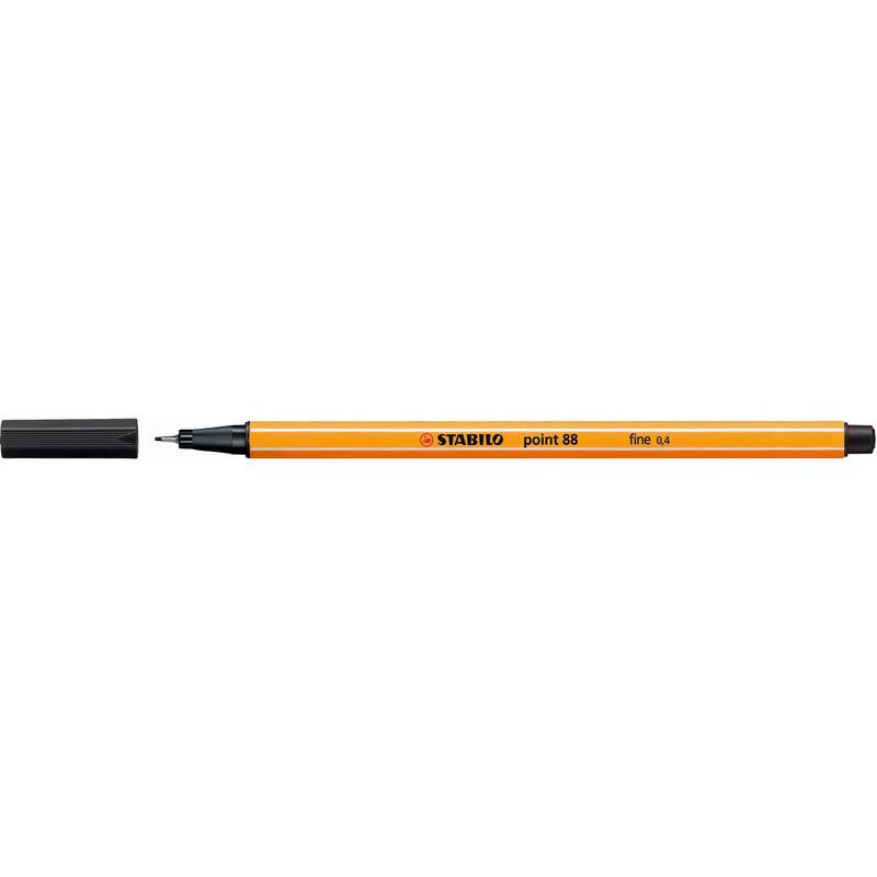 Fineliner Pens STABILO point 88 Fineliner Pen 0.4mm Line Black (Pack 10)
