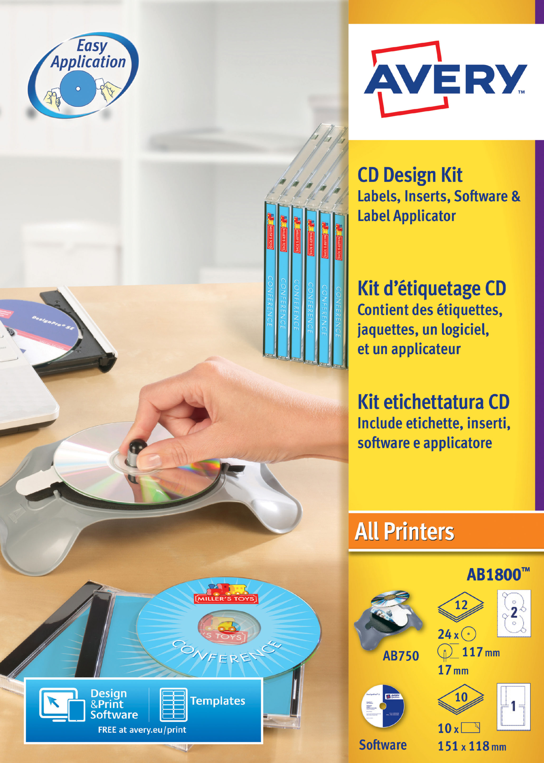 Avery CD Design Kit 117mm 10 Inserts and 24 labels
