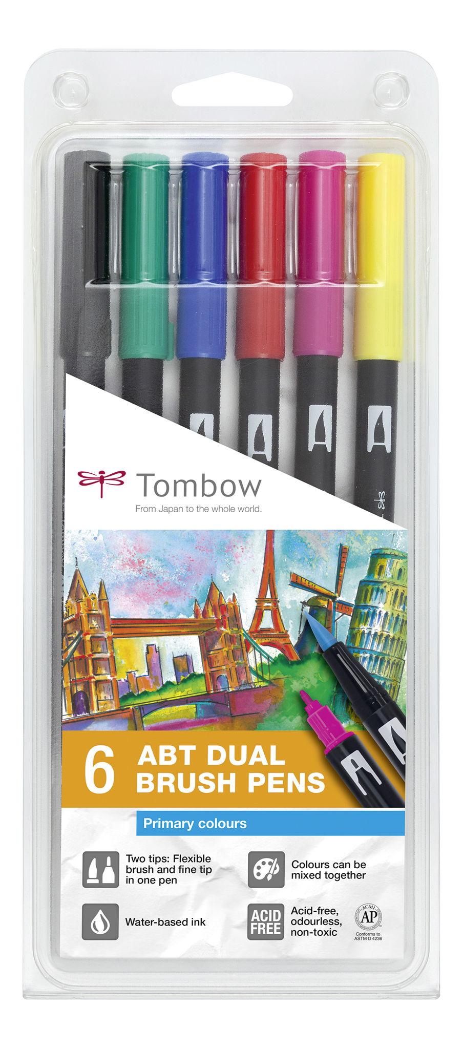 ABT Dual Brush Pen Primary clrs PK6