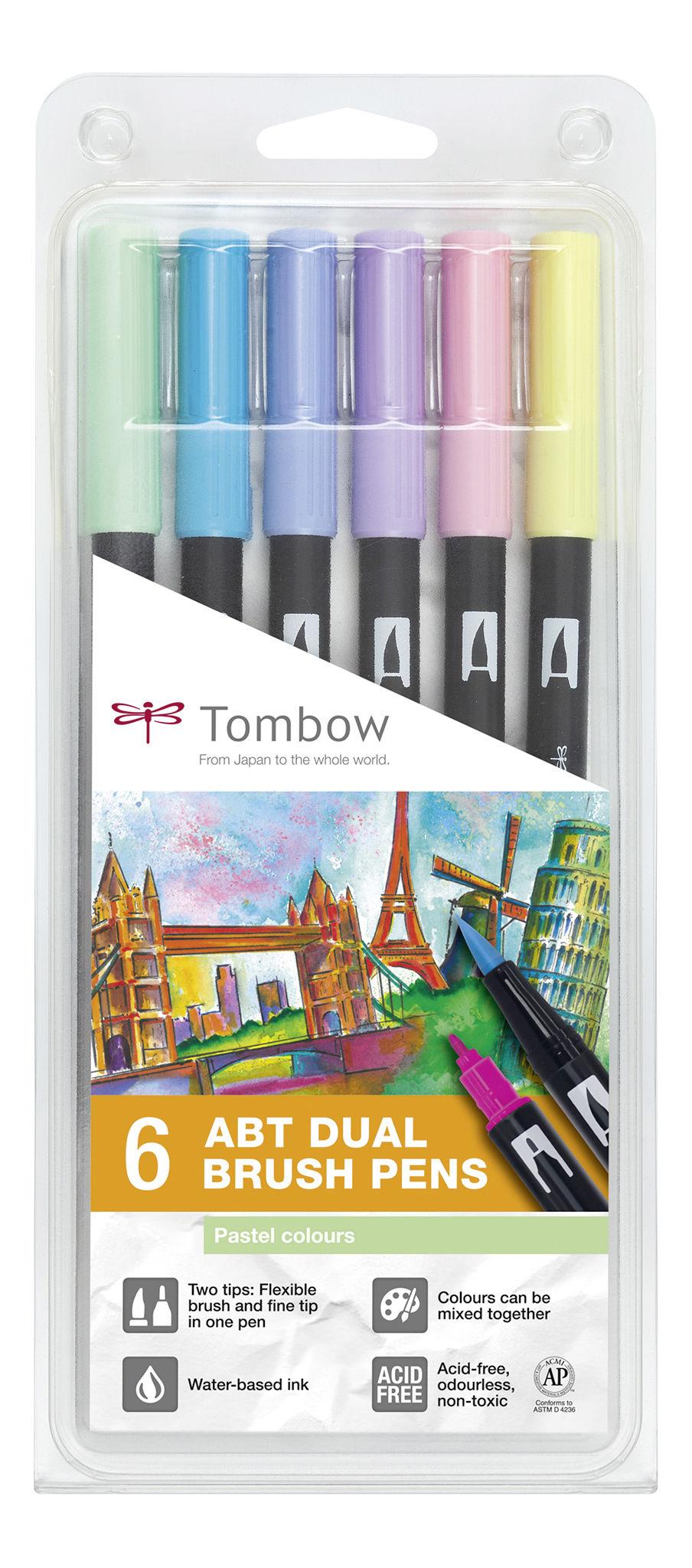 ABT Dual Brush Pen Pastel clrs PK6
