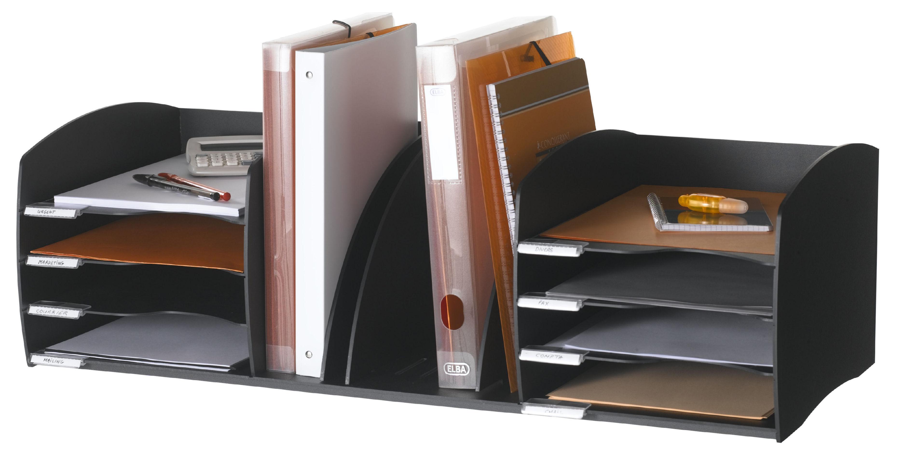 Desk Tidies Fast Paper Desktop Organizer 8 Comp Black