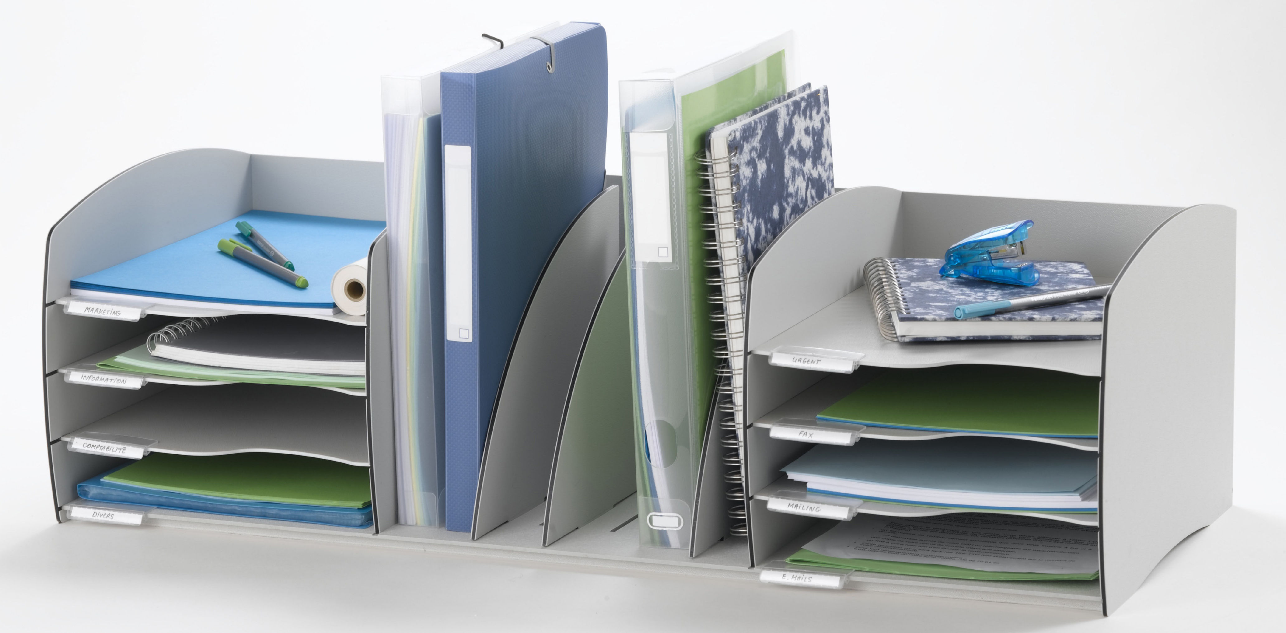 Desk Tidies Fast Paper Desktop Organizer 8 Comp Grey