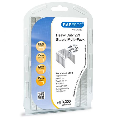 Rapesco 923 Staple Multi-Pack Galvanised Staples