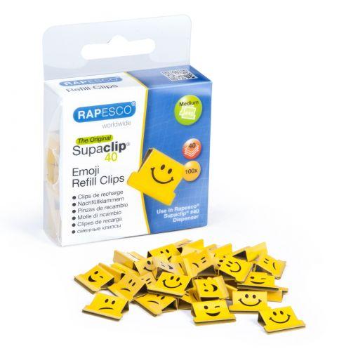 Rapesco Supaclip No.40 Refill Clips Emojis PK100