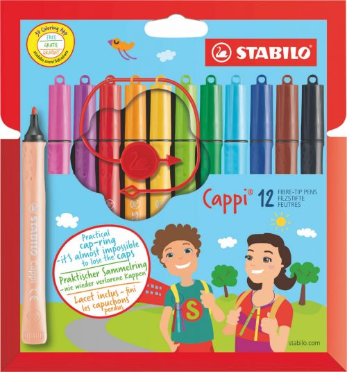 Stabilo Cappi Felt Pens with Cap Ring PK12