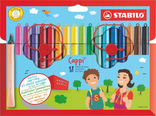 Stabilo Cappi Felt Pens with Cap Ring PK24