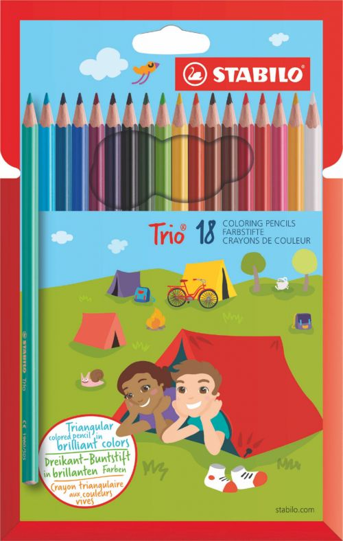 Stabilo Trio Thin Colouring Pencils PK18