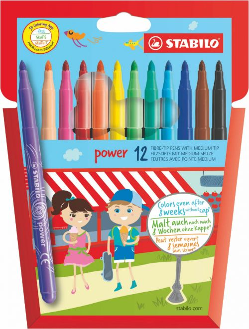 Stabilo Power Extra Long Lasting Felt Pens PK12