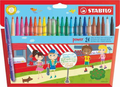 Stabilo Power Extra Long Lasting Felt Pens PK24