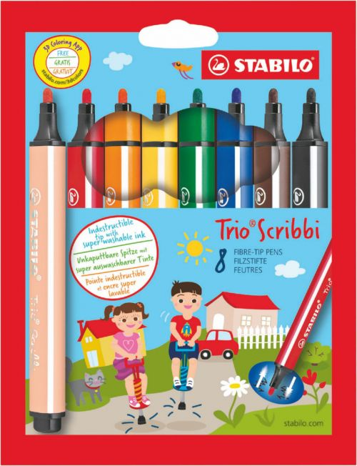 Stabilo Scribbi Chunky Felt Pens PK8