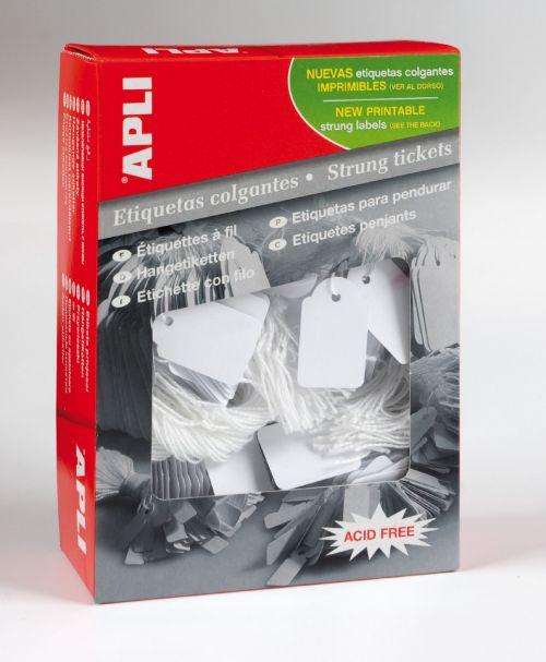 Value Apli Strung Tickets 28x43mm White (PK500)