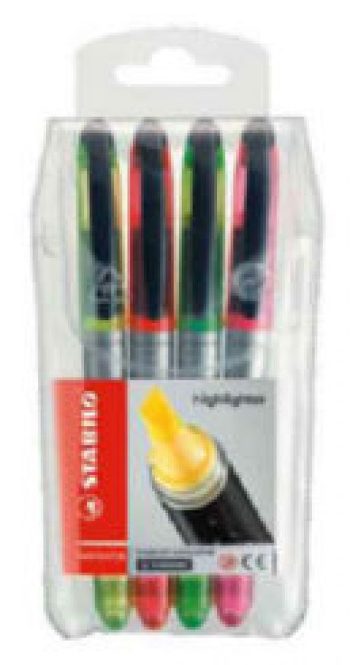 Stabilo Navigator Highlighter Soft-grip Slimline Astd PK4