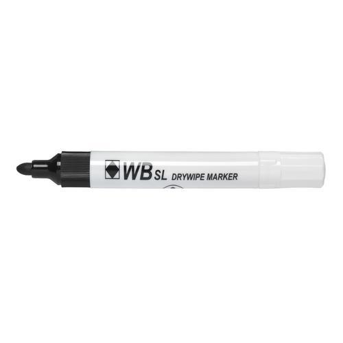 ValueX Drywipe Marker Bullet Tip Black (Pack 10)