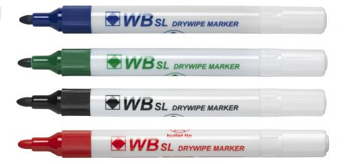 Value Drywipe Marker Bullet Tip Assorted PK4