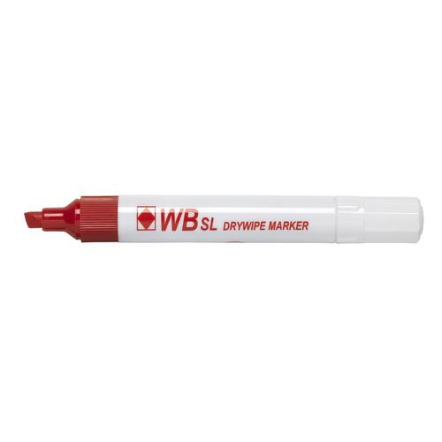 Value Drywipe Marker Chisel Tip Red PK10