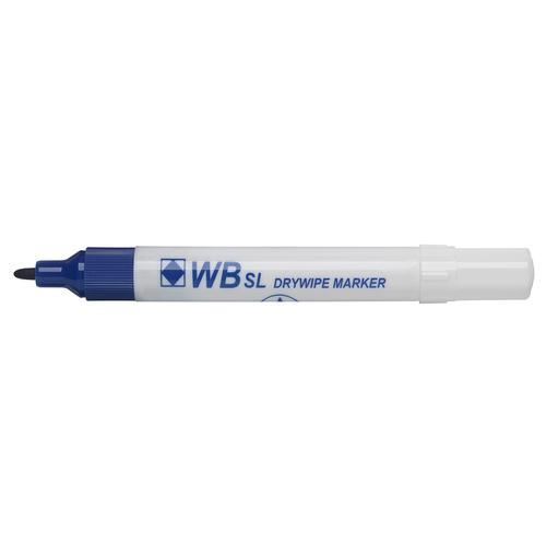 Value Drywipe Marker Bullet Tip Fine Blue PK10