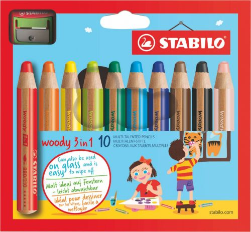 Stabilo Woody 3 in 1 Colouring Pencils with Sharpener PK10