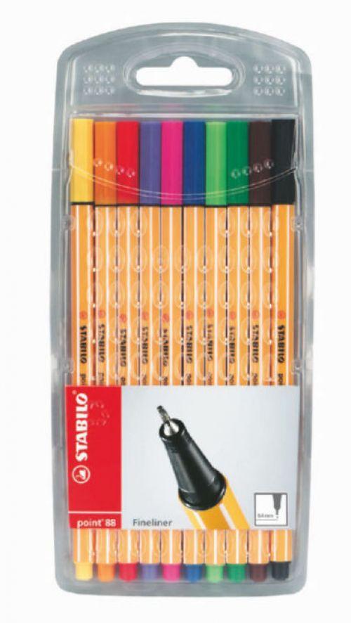 Stabilo Point 88 Pen Fineliner 0.4mm Assorted PK10
