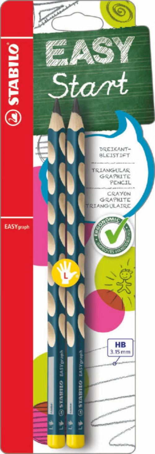 Stabilo EASYgraph HB Pencil Left petrol blister of 2