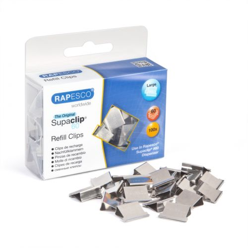 Rapesco Supaclip 60 Stainless Steel Clips PK100