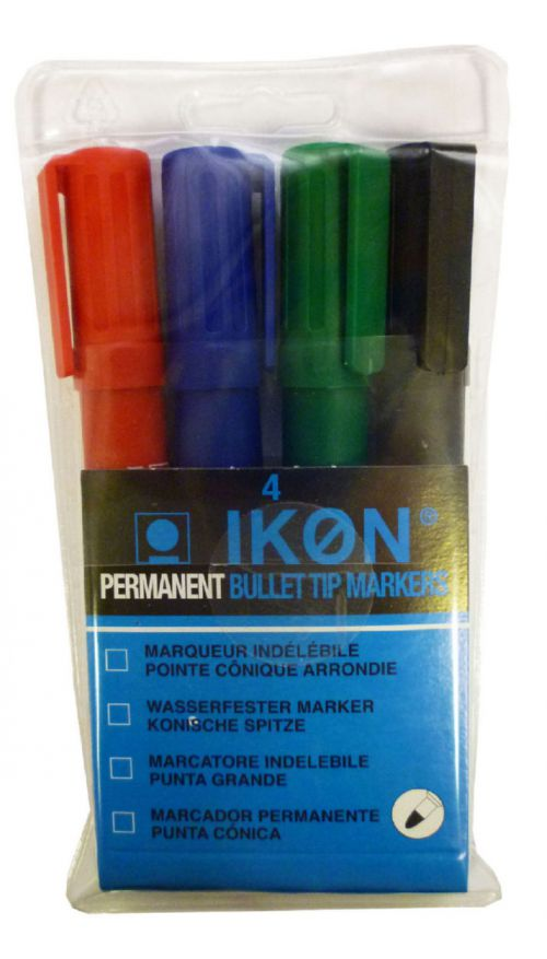 ValueX Permanent Marker Bullet Tip Assorted (Pack 4)
