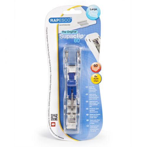 Rapesco Supaclip 60 Dispenser with 8 Clips 60 Sheets