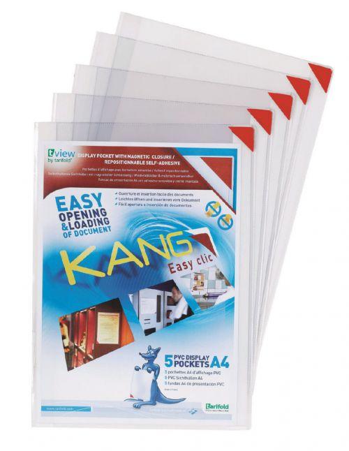 Tarifold A4 Self Adhesive Magnetic Closure Pockets PK5