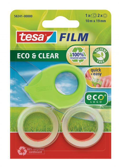tesafilm Mini Eco & Clear Dispenser w/2 rolls 19mmx10M Green