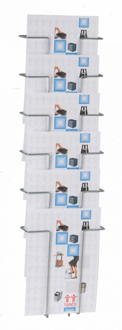 Twinco A4 Wall Literature Holder 6 Compartments Silver