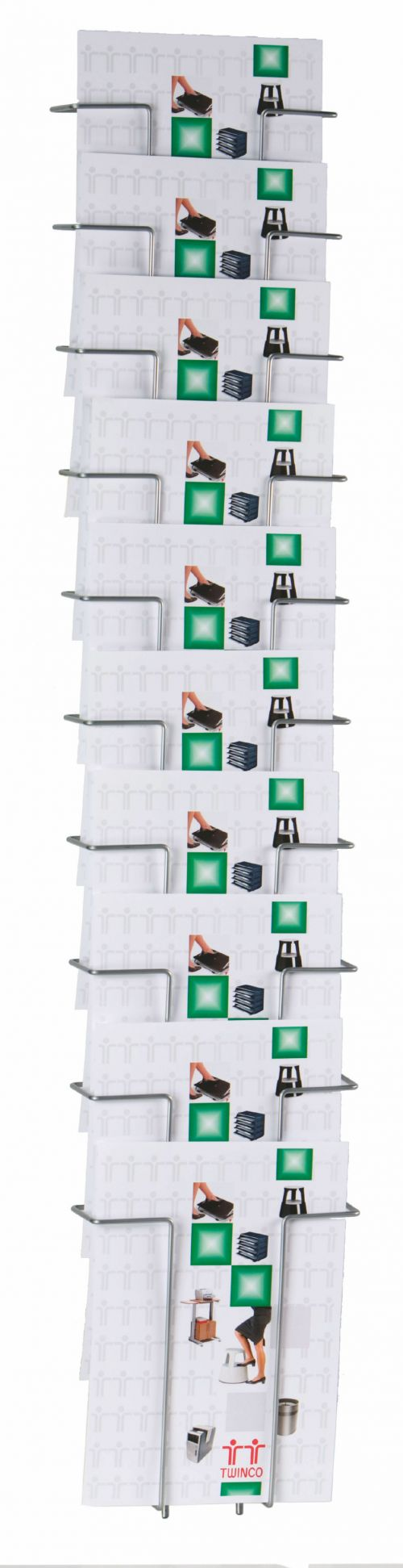 Twinco Wall Literature Holder A4 10 Compartments Silver