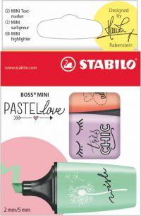 Stabilo BOSS Mini Pastellove Highlighter Pen Chisel Tip 2-5mm Line Mint/Lilac/Peach (Pack 3)