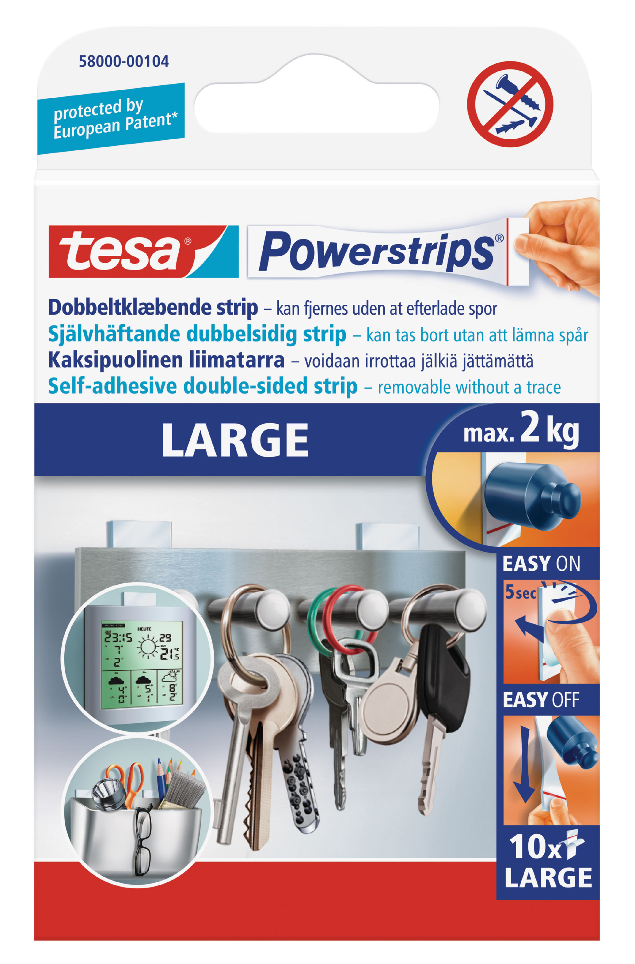 Fixers / Dots / Strips tesa Powerstrips Large Strips 58000 PK10