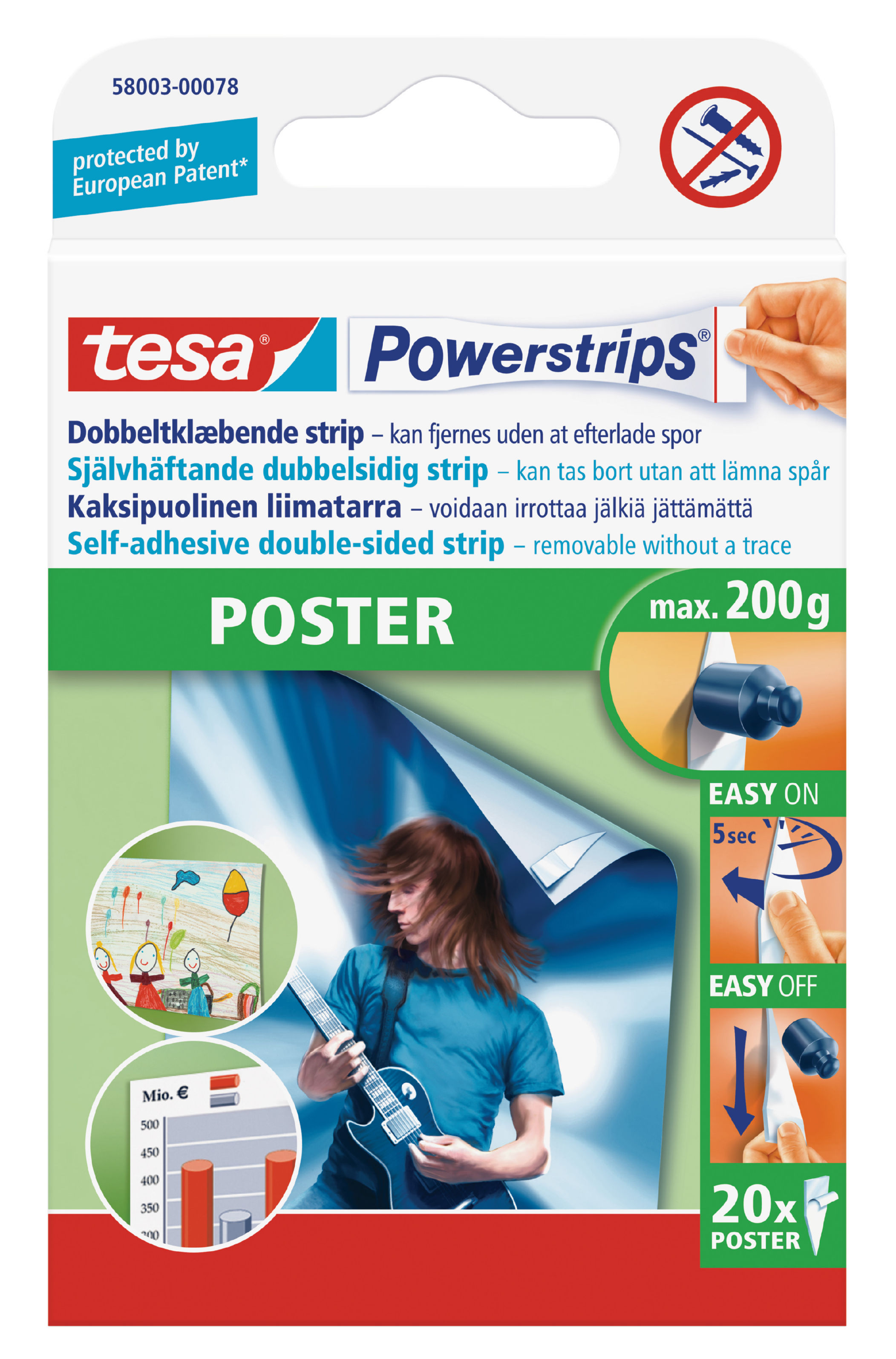 Fixers / Dots / Strips tesa Powerstrips Poster Strips (PK20)