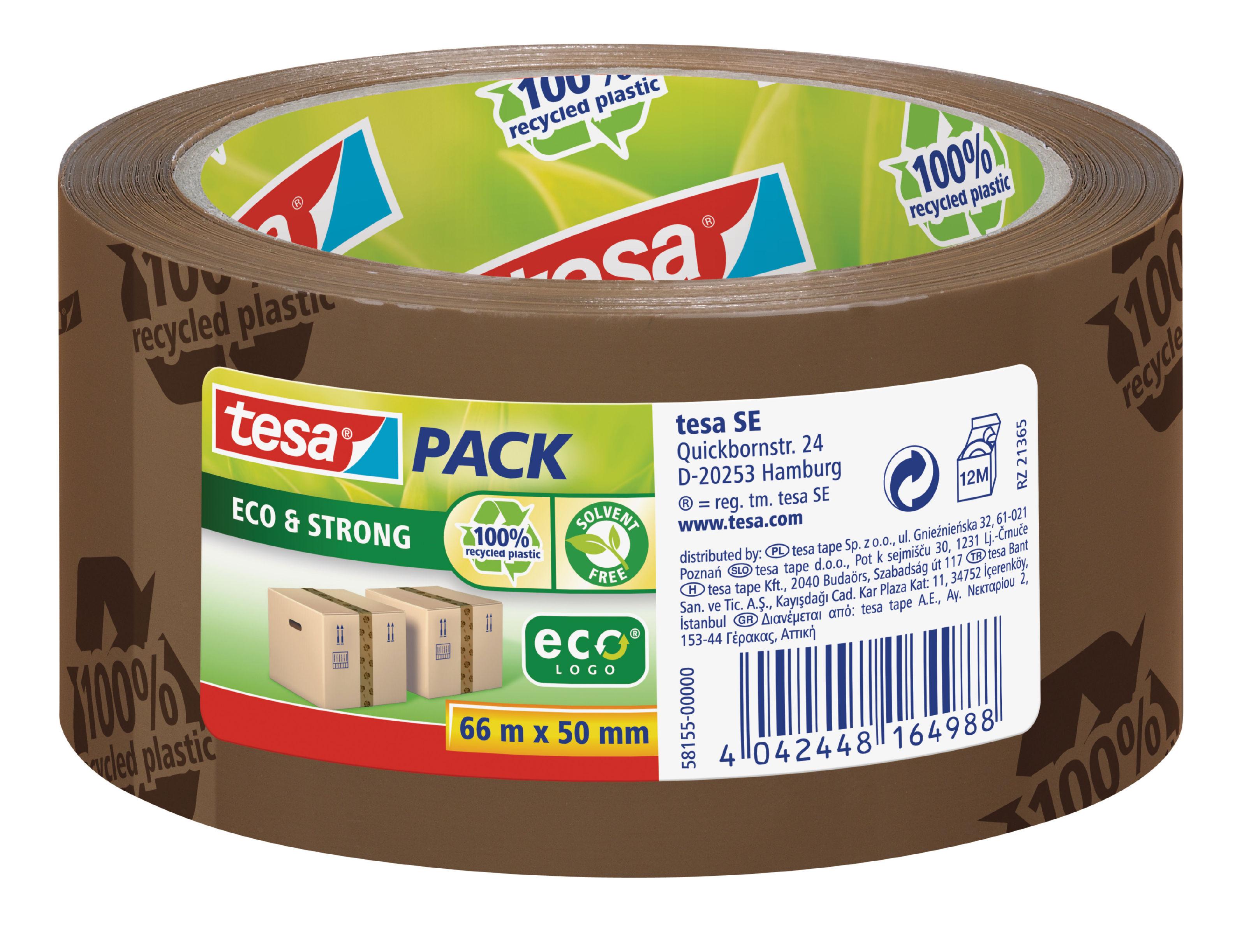 Packing Tape tesa EcoLogo Printed Polypropylene Tape 50mmx66m Brown 58155 PK6