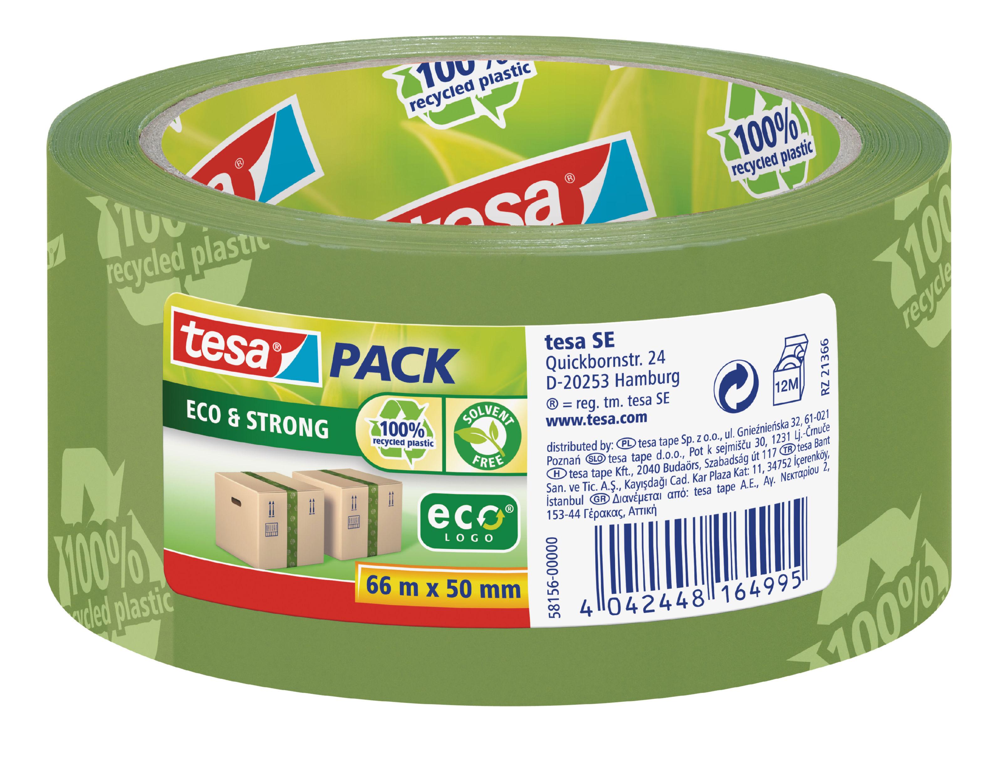 Packing Tape tesa EcoLogo Printed Polypropylene Tape 50mmx66m Green 58156 PK6
