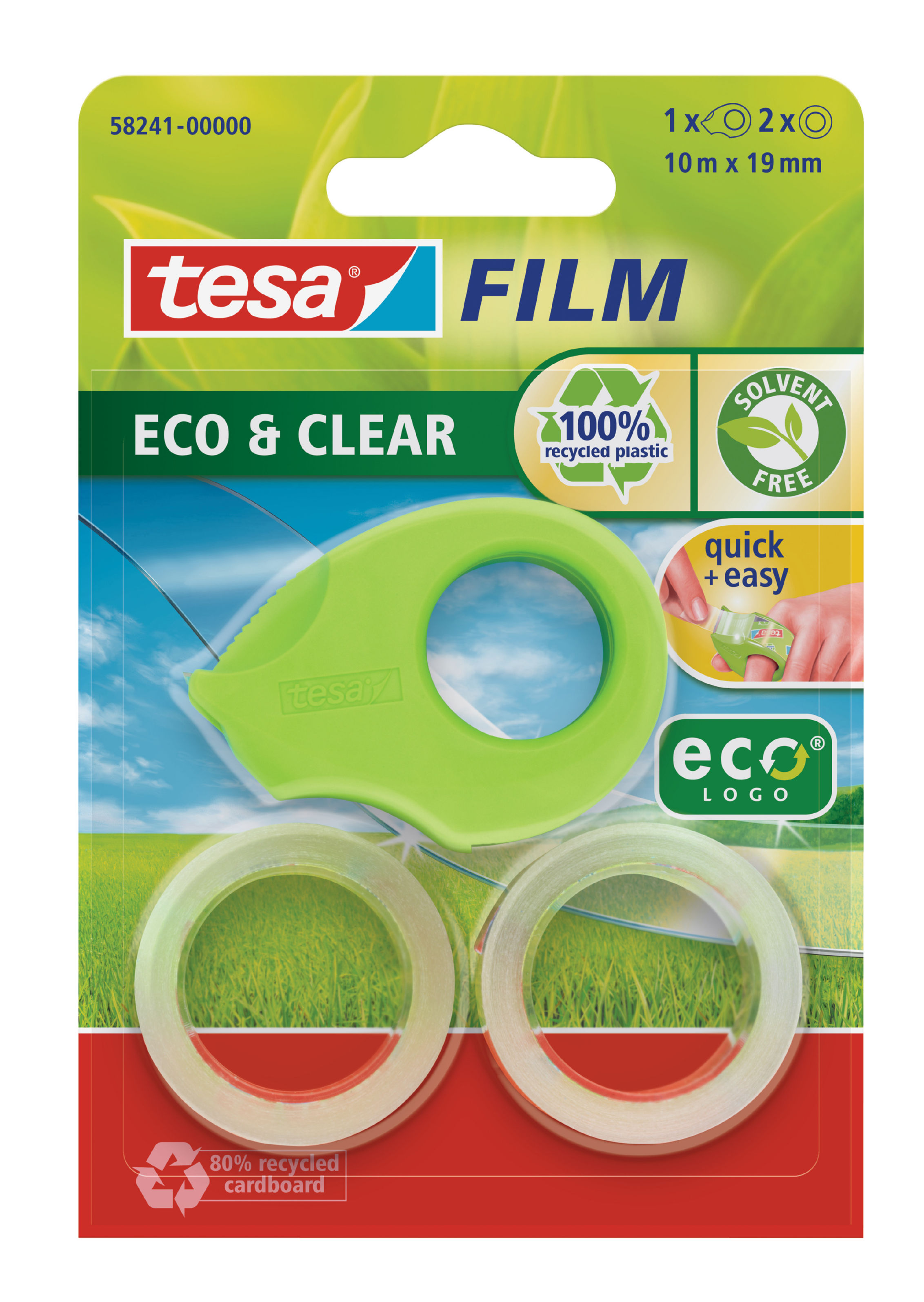 Glue Rollers tesafilm Mini Eco & Clear Dispenser With 2 rolls 19mmx10M Green