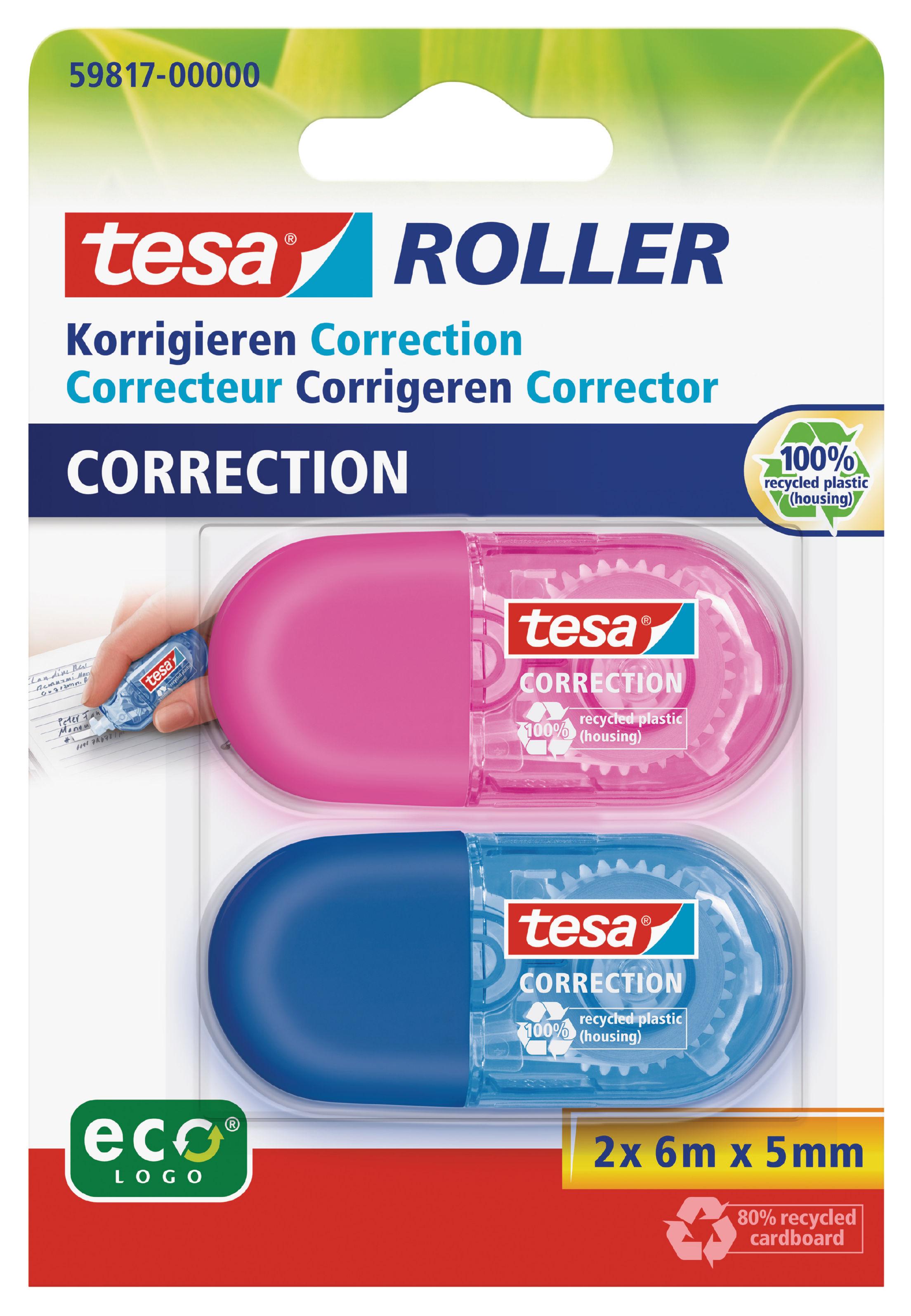 Correction Tape tesa Mini Correction Tape Roller 5mmx6m White (Pack 2) 59817