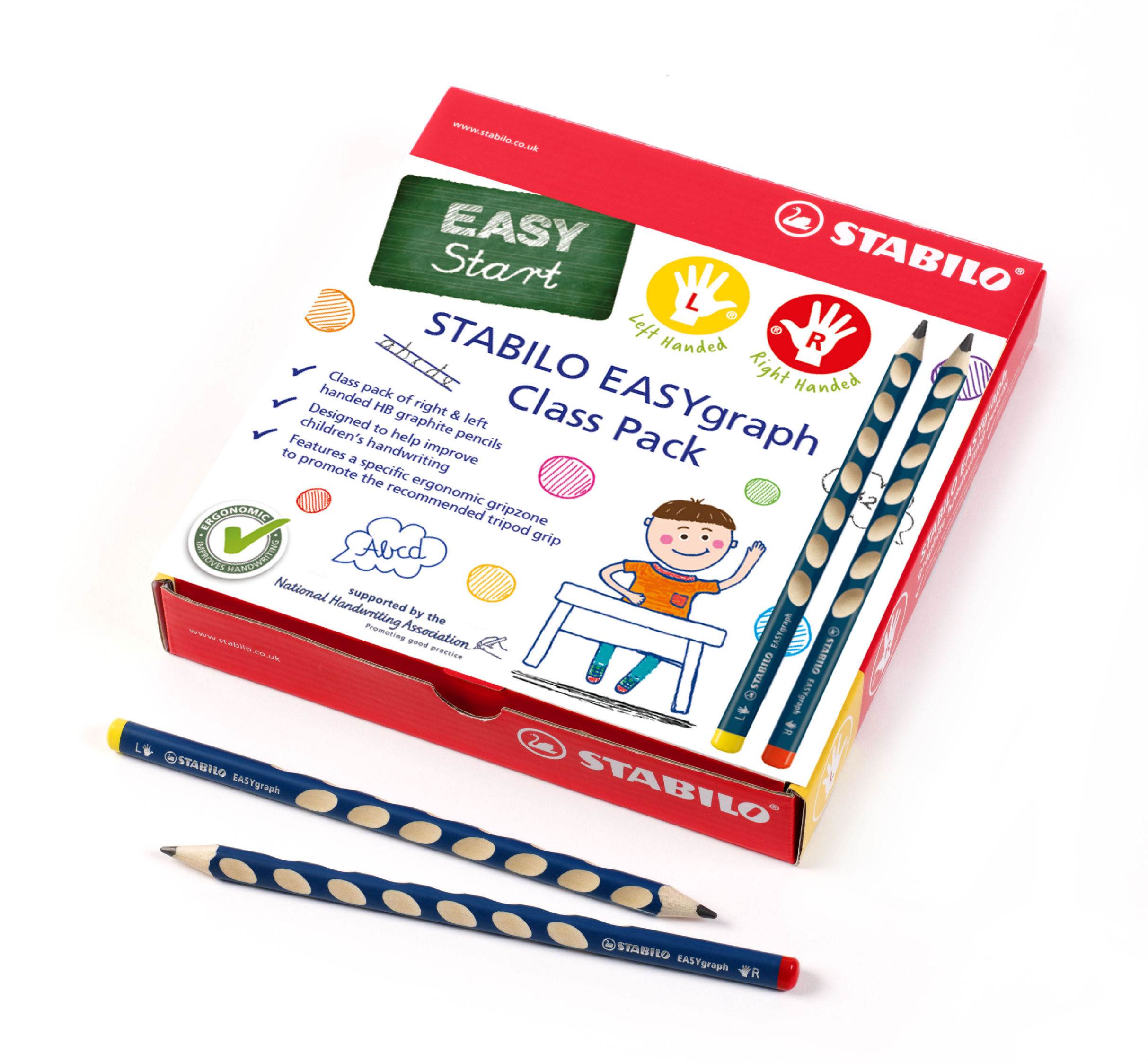 Pencils (Wood Case) Stabilo EASYgraph HB Pencil Classpack 40 Right and 8 Left