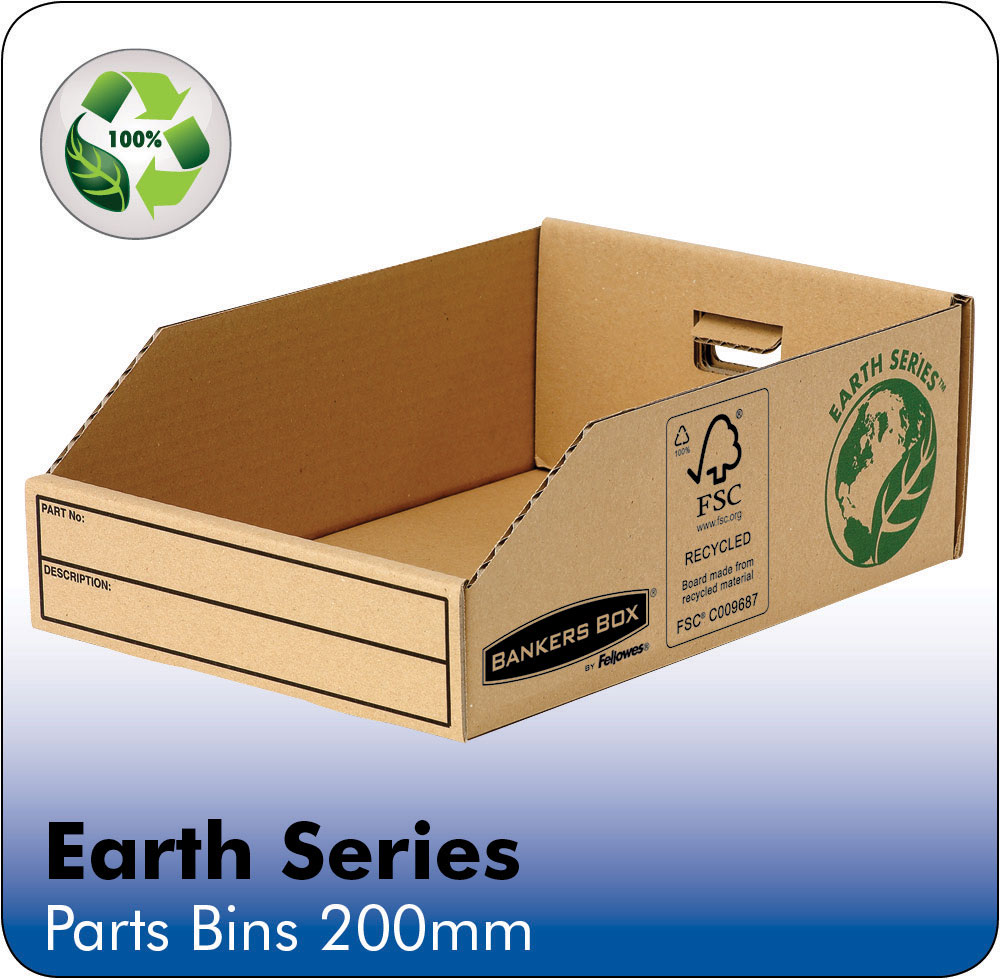 Image for Bankers Box by Fellowes Parts Bin Corrugated Fibreboard Packed Flat W200xD280xH102mm Ref 07355 [Pack 50]