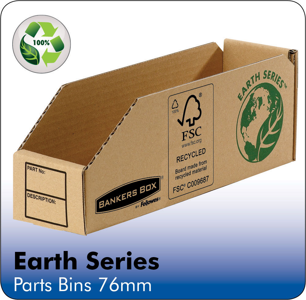 Image for Bankers Box by Fellowes Parts Bin Corrugated Fibreboard Packed Flat 76x280x102mm Ref 07352 [Pack 50]