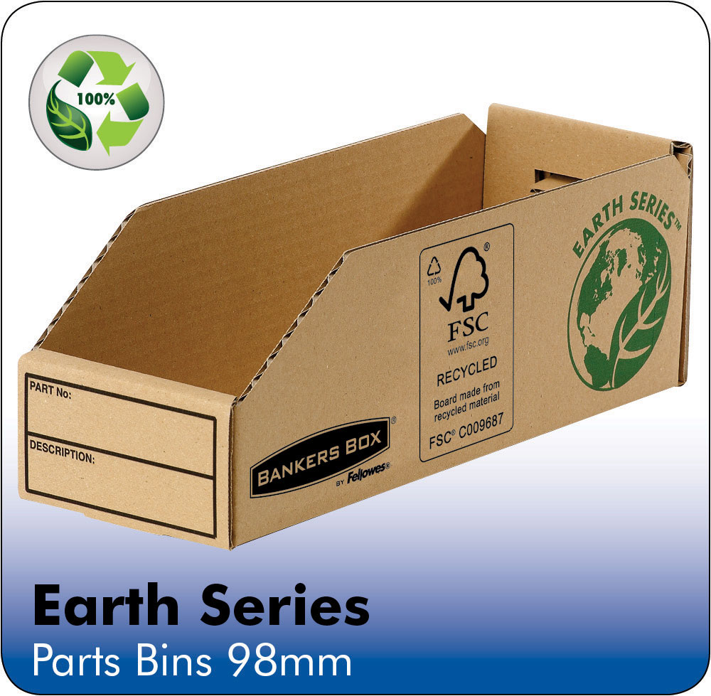 Image for Bankers Box by Fellowes Parts Bin Corrugated Fibreboard Packed Flat W98xD280xH102mm Ref 07353 [Pack 50]