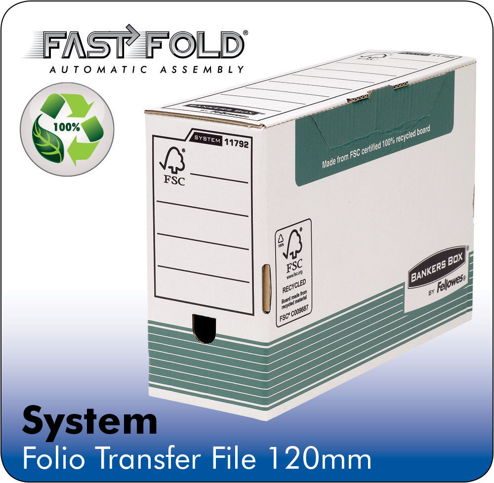 Fellowes Bankers Transfer File Foolscap White Green Ref 1179201 [Pack 10]