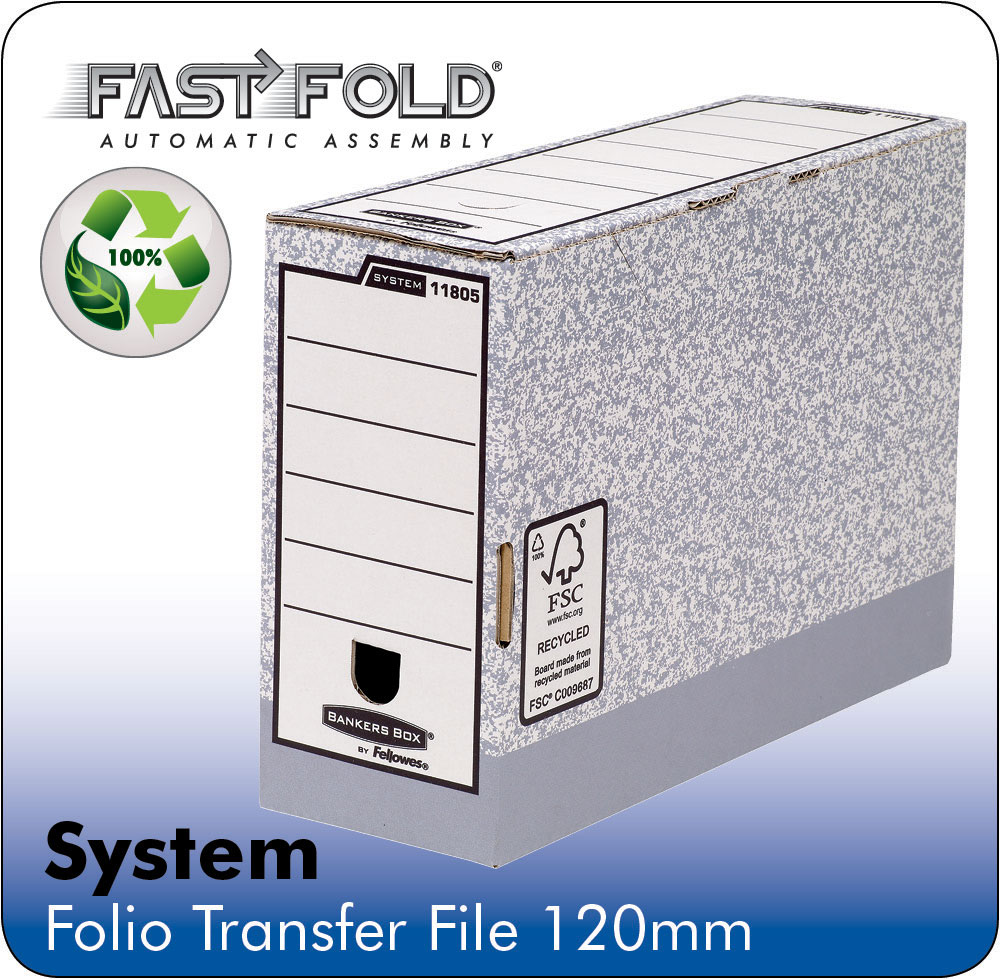 Storage Boxes Fellowes System 120mm Folio Trans File Grey PK10